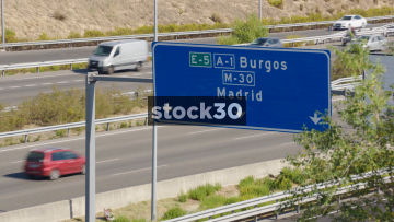 Motorway Direction Signs In Madrid, Spain