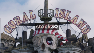 Blackpool Coral Island Amusement Arcade Close Up On Sign And Entrance, UK