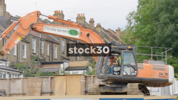 A Digger On A Construction Site In London, UK