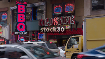 Cold Stone Creamery And Dallas BBQ On 42nd Street In New York City, USA