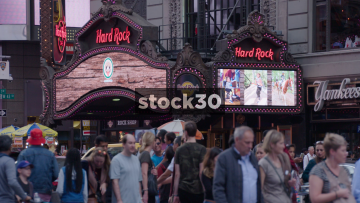 Wide Shot Of Hard Rock Cafe On Broadway In New York City, USA